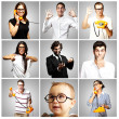 Composition of young joking over grey background — Stock Photo