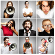 Composition of crazy over grey background — Stock Photo