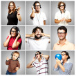 Composition of funny over grey background — Stock Photo #10180201