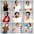 Royalty-Free Stock Photo: Composition of funny over grey background