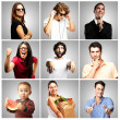Stock Photo: Composition of funny over grey background