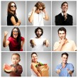 Composition of funny over grey background — Stock Photo
