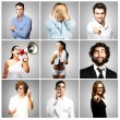 Composition of young joking over grey background — Stock Photo #10180203
