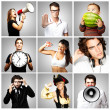 Composition of happy over grey background — Stock Photo