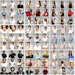 Composition of young over grey background — Stock Photo