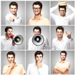 Composition of a handsome young man over grey background — Stock Photo #10180222
