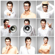 Composition of a handsome young man over grey background — Stock Photo