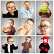 Composition of funny baby over grey background — Stock Photo