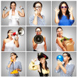 Composition of funny woman over grey background — Stock Photo