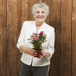 Senior woman holding a flower pot against a wooden background — Stock Photo