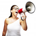 Woman shouting using megaphone — Stock Photo #10180760