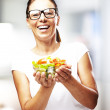Woman holding salad — Stock Photo #10180795