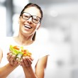 Woman holding salad — Stock Photo #10180796