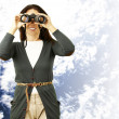 Woman with binoculars — Stock Photo #10180894