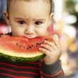 Portrait of a handsome kid holding a watermelon piece and suckin — Stock Photo #10181312