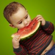 Portrait of a handsome kid biting a watermelon over green backgr - 图库照片
