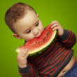 Portrait of a handsome kid biting a watermelon over green backgr - 