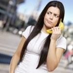 Woman with a banana phone — Stock Photo
