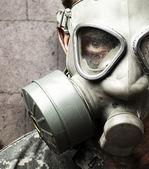 Soldier with gas mask — Foto de Stock