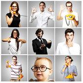 Composición de jóvenes bromeando sobre fondo gris — Foto de Stock