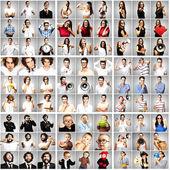 Composición de jóvenes sobre fondo gris — Foto de Stock