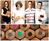 Composition of young students indoor and against a wooden wall — Stock Photo