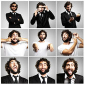 Young crazy business man joking collection — Stock Photo