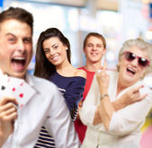 Group having fun and gesturing indoor — Stock Photo
