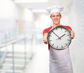 Chef Holding A Big Clock — Stock Photo