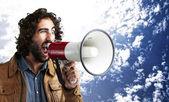 Man met een megafoon — Stockfoto