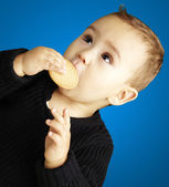Portrait of kid eating a biscuit over blue background — Stock Photo