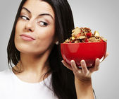 Woman holding breakfast bowl — Stock Photo