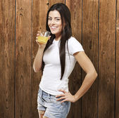 Woman holding a glass — Stock Photo