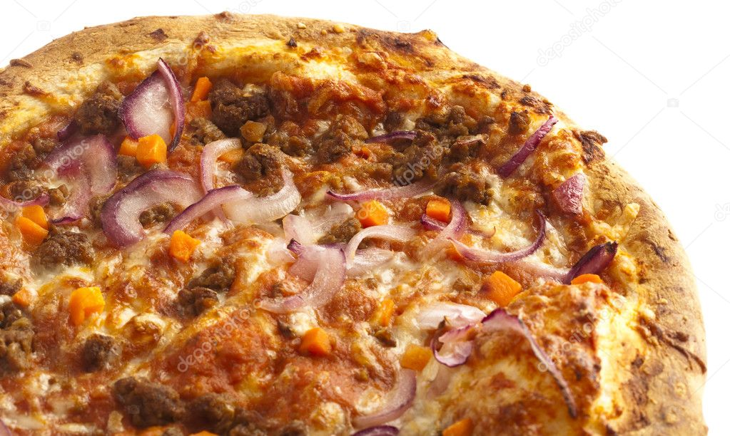 Bolognese pizza closeup, on a white background — Stock Photo #10187553