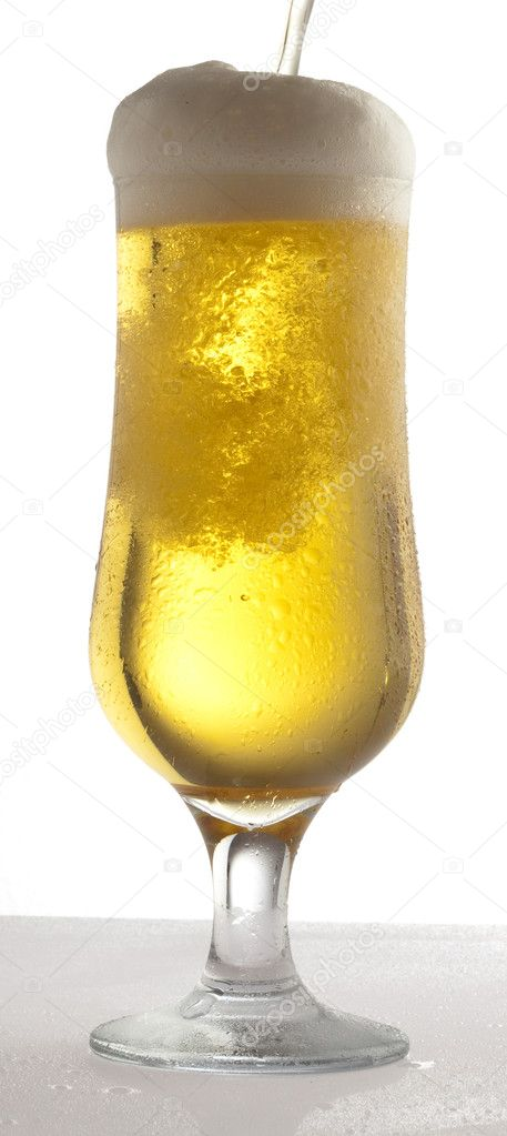 Beer on glass on a white background — Stock Photo #10187683