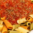 Pasta and tomato — Stock Photo
