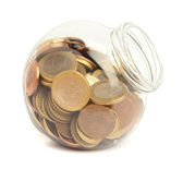 Coins on bottle — Stock Photo