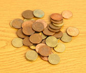 Euro cents on table — Stock Photo