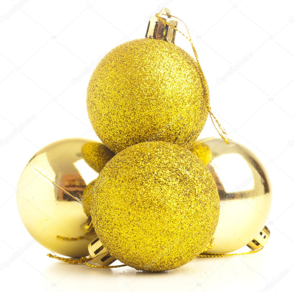Closeup of a christmas balls on a white background — Stock Photo #10390071