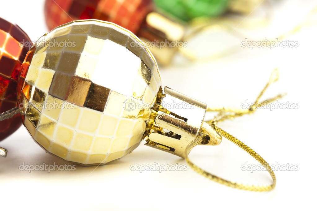 Extreme closeup of christmas balls on white background  Stock Photo #10390142
