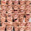 Collection of pretty girl mouth gestures — Stock Photo