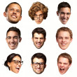 Collection of person faces over white background — Stock Photo #10403820