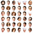 Big collection of person faces over white background — Stock Photo #10403832