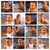 Collection of baby in the beach — Stock Photo