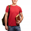 Portrait of young student holding book and carrying backpack ove — Stock Photo #10582724