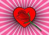 Coração e rosa — Vetorial Stock