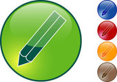 Glossy pencil icon — Stock Vector