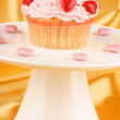 Valentines day cupcake on a cake stand — Stock Photo