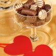 Royalty-Free Stock Photo: Chocolate pralines and heart shapes
