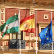 Flags at Palace of San Telmo, Seville - Stock Photo